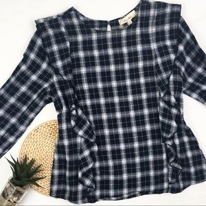 Anthropologie Plaid Ruffled Flannel Blouse